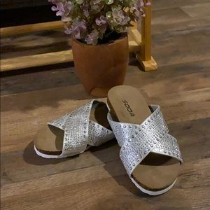 Silver SODA rhinestone slip on sandals